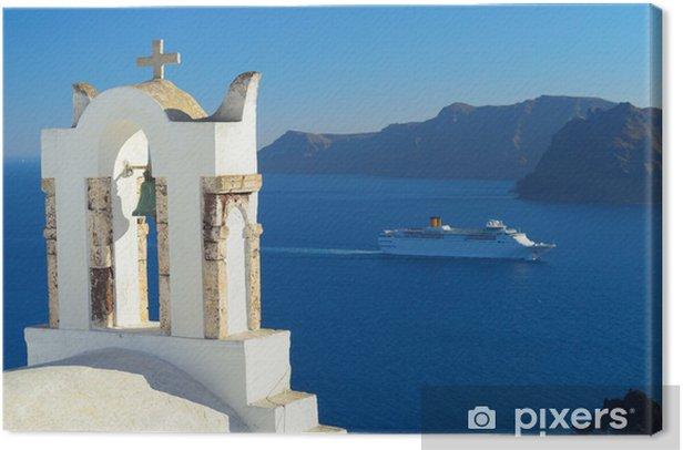 Leinwandbild Kreuzfahrtschiff in der Caldera in Oia, Santorini, Kykladen, Griechenland - Europa