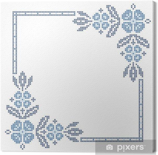 Leinwandbild Kreuzstich-Stickerei in der ukrainischen Stil - Blumen