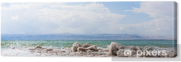 Leinwandbild Kristallines Salz am Strand des Toten Meeres - Naher Osten