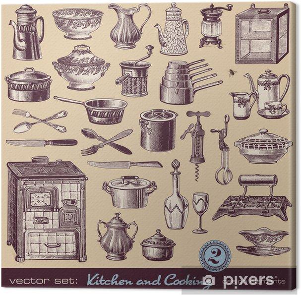 Leinwandbild Küche & Kochen (2) - assorted Weinleseillustrationen ...