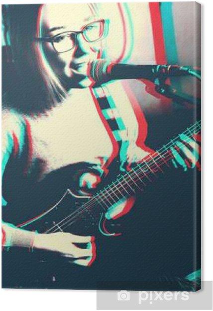 d366f3fd78157d Leinwandbild Kunstabbildung der jungen Frau spielt E-Gitarre und das  Mikrofon singen