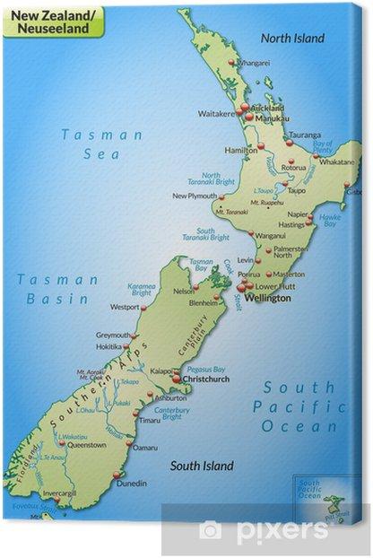 Leinwandbild Landkarte Von Neuseeland Pixers Wir Leben Um Zu