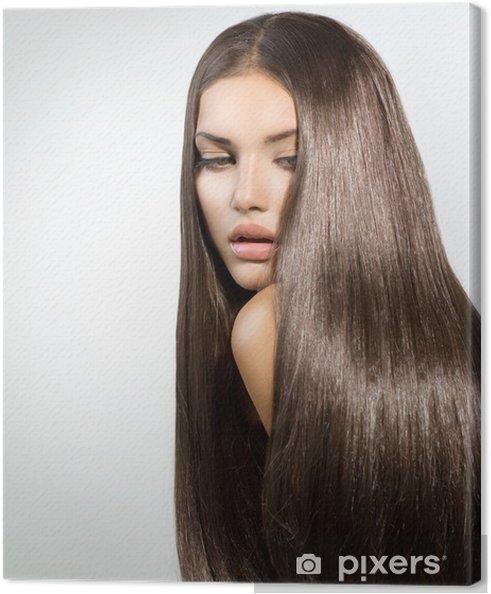 Leinwandbild Lange Gesunde Glattes Haar Modell Brunette Girl
