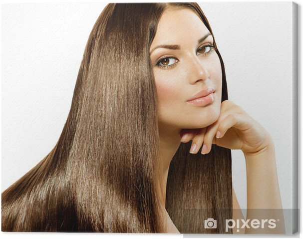 Leinwandbild Langes Glattes Haar Beautiful Brunette Girl Isoliert