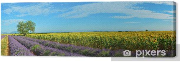 Leinwandbild Lavendel und Sonnenblumen - Land