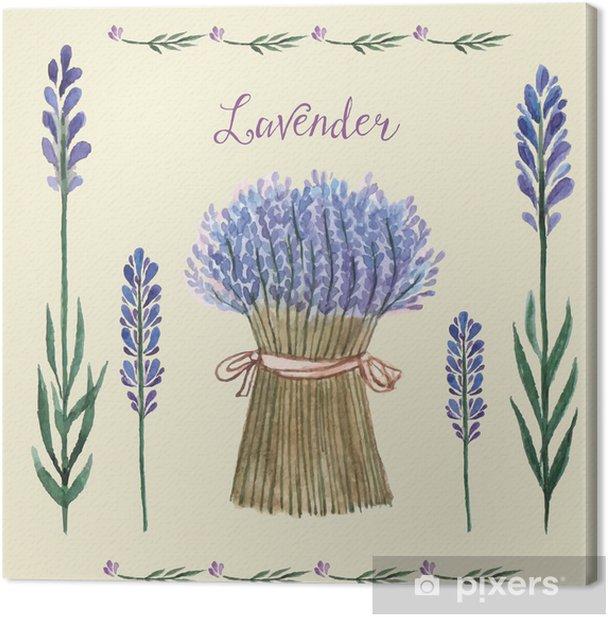 Leinwandbild Lavender Aquarell. - Pflanzen