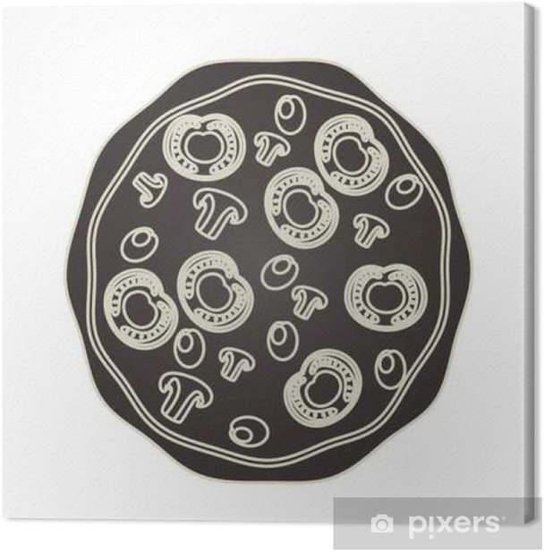Leinwandbild Leckere Pizza italienisch-Symbol Vektor-Illustration, Design, - Essen
