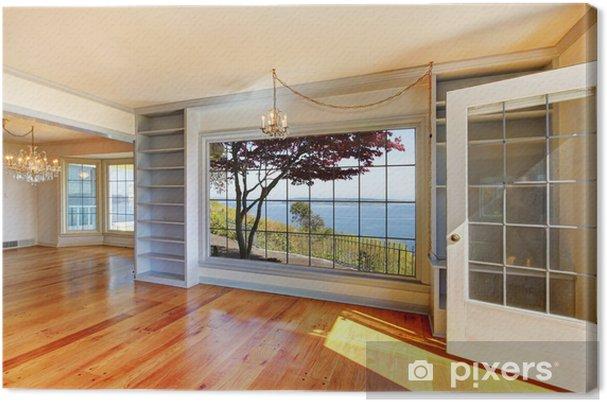 Leinwandbild Leere Zimmer Mit Blick Auf Das Wasser Und Grosse Fenster