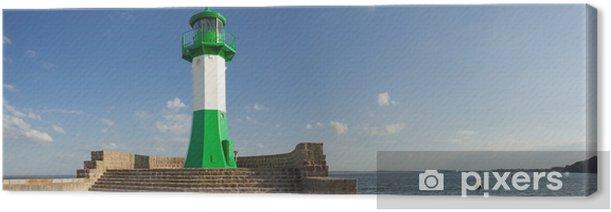 Leinwandbild Leuchtturm, Rügen, Sassnitz Hafen, Mole, Ostsee - Europa
