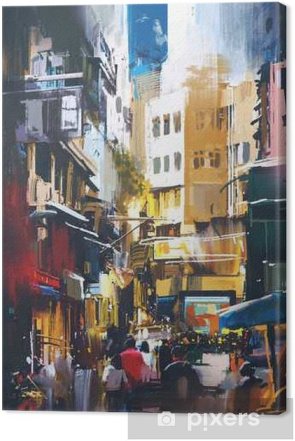 Leinwandbild Leute, die in der Stadtstraße mit digitalem Kunststil, Illustrationsmalerei gehen - Hobbys und Freizeit