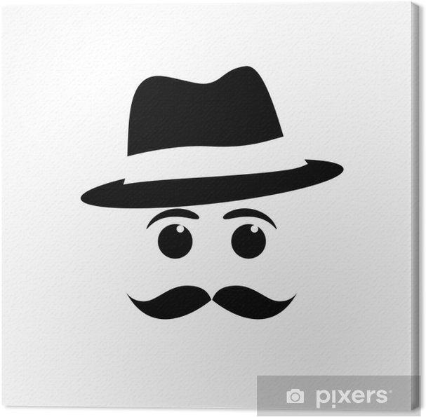 Leinwandbild Logo Schnurrbart und Hut # Vektor - Schnurrbart