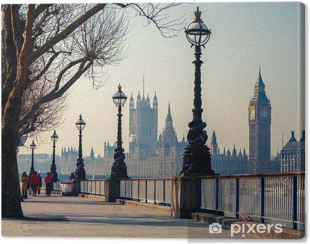 Leinwandbild Londons Promenade mit Blick auf den Big Ben und das Parlament - Themen