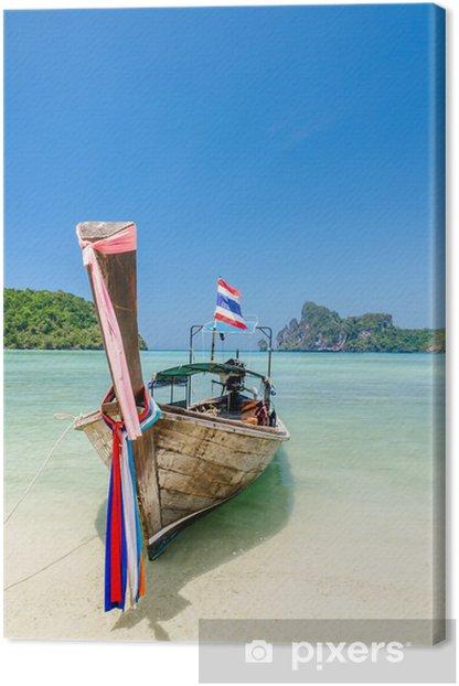 Leinwandbild Longtail-Boot auf Phi Phi Insel, Thailand - Asien