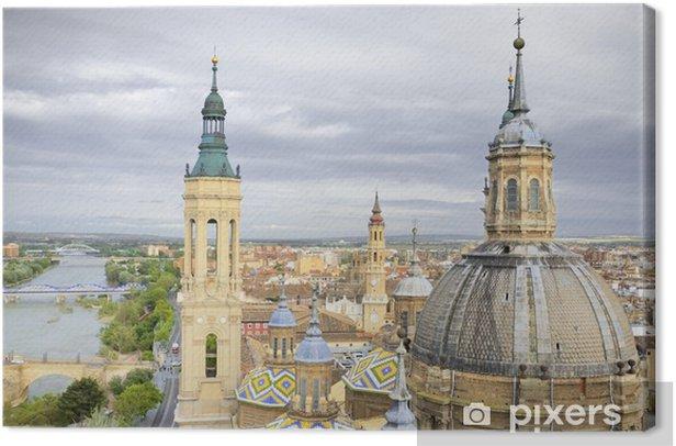 Leinwandbild Luftbild von El Pilar Kathedrale-Basilika in Zaragoza, Spanien - Europa
