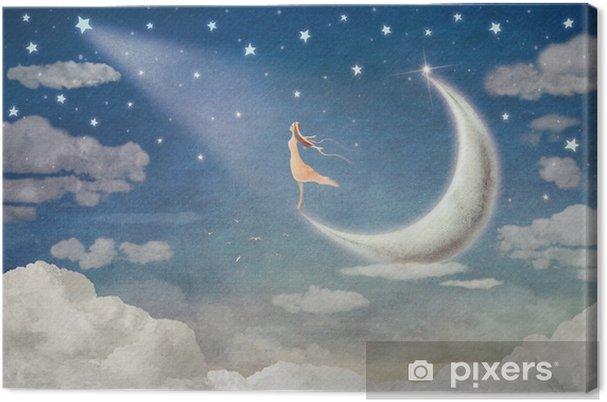 Leinwandbild Mädchen auf Mond bewundert den nächtlichen Himmel - Illustrationskunst - Gefühle, Emotionen und Geisteshaltung