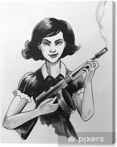 Leinwandbild Mädchen mit einer Waffe - Menschen