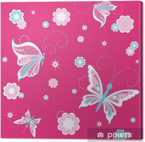 Leinwandbild Mädchenhaft Hintergrund mit Schmetterling Dekoration - Für Kindergartenkind