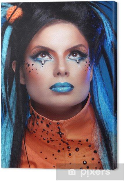 Leinwandbild Make Up Punk Frisur Close Up Portrait Of Rock Madchen Mit Blau