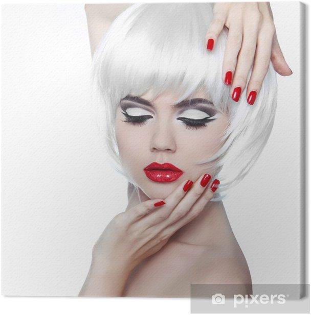 Leinwandbild Make-up und Frisur. Rote Lippen und gepflegte Nägel. Fashion Beau - Mode