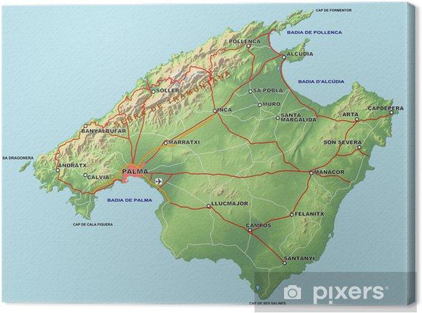 Mallorca Karte Alcudia.Leinwandbild Mallorca Karte Mit Relief