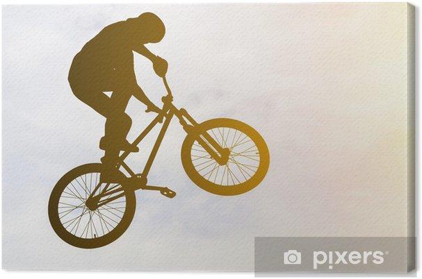 leinwandbild man macht einen sprung mit einem bmx fahrrad gegen sonnenschein himmel pixers. Black Bedroom Furniture Sets. Home Design Ideas