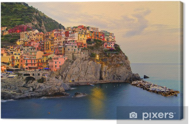Leinwandbild Manarola, Italien über die Cinque Terre Küste bei Sonnenuntergang - Themen