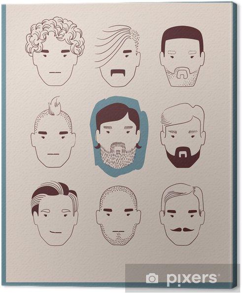 Leinwandbild Mann Mit Verschiedenen Frisuren Und Barte Sammlung