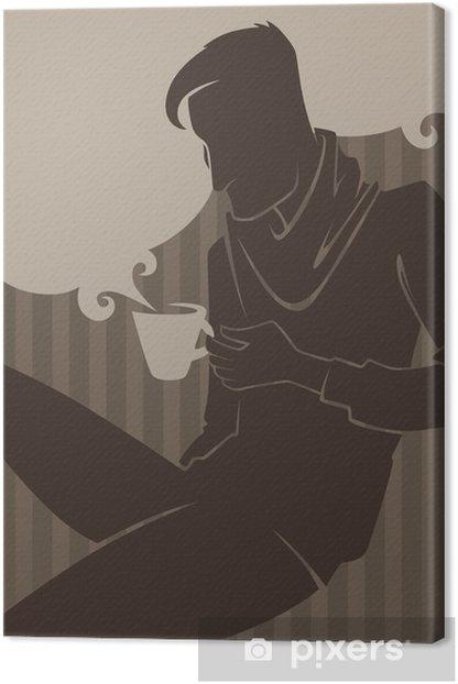Leinwandbild Mann, trinken Kaffee, Vektor-kommerziellen bacground - Sonstige Gefühle