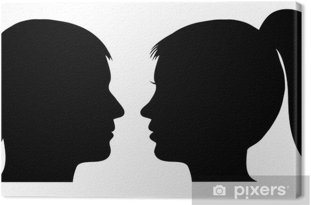 Leinwandbild Mann und Frau Gesicht Profil • Pixers® - Wir