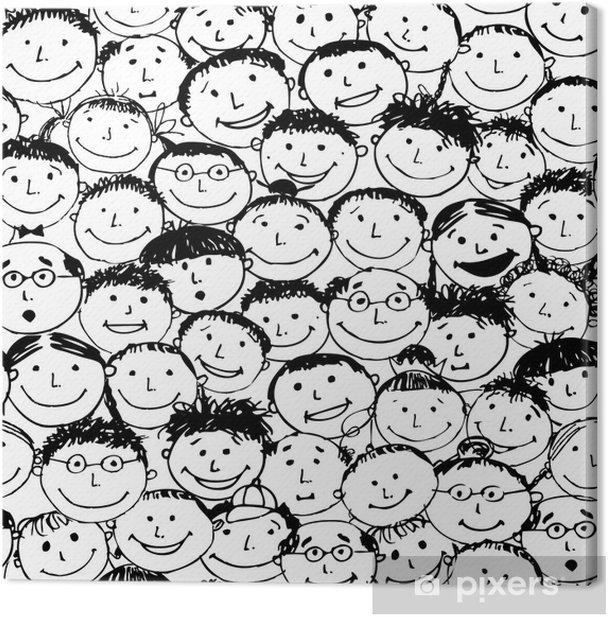 Leinwandbild Masse der lustigen Völker, nahtlose Hintergrund für Ihr Design - Hintergründe