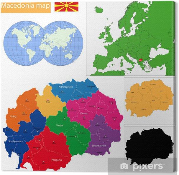 Mazedonien Karte.Leinwandbild Mazedonien Karte