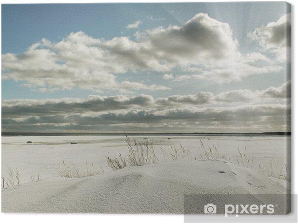 Leinwandbild Meer, Himmel und Schnee. - Jahreszeiten