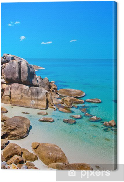 Leinwandbild Meer, Strand und Steine in Koh Samui, Thailand - Asien