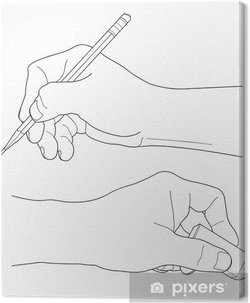 Leinwandbild Menschliche Hände Mit Bleistift Und Radiergummi