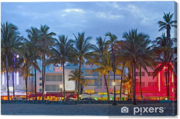 Leinwandbild Miami Beach Florida Hotels Und Restaurants Bei