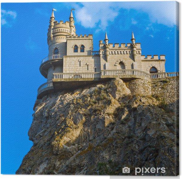 Leinwandbild Mittelalterliche Burg gegen den blauen Himmel mit Wolken. Schwalbennest \ - Themen