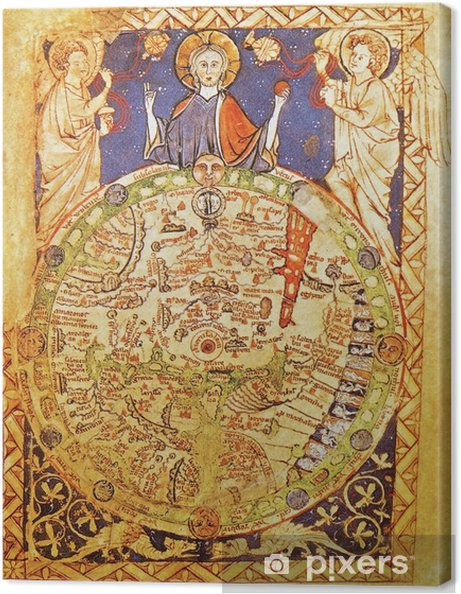 Jerusalem Karte Welt.Leinwandbild Mittelalterliche Karte Mit Jerusalem Als Mittelpunkt Der Welt