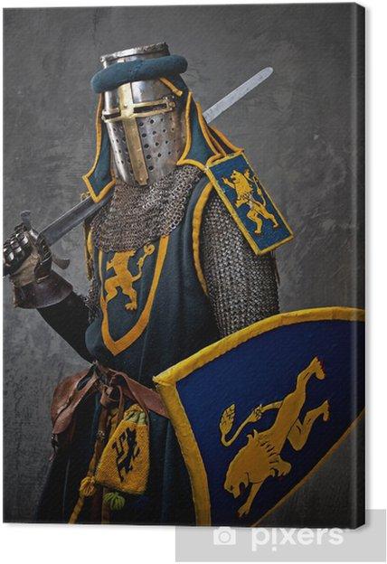 Leinwandbild Mittelalterliche Ritter auf grauem Hintergrund. - Männer
