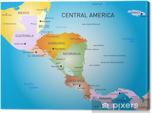 karte mittelamerika Leinwandbild Mittelamerika Karte • Pixers®   Wir leben, um zu