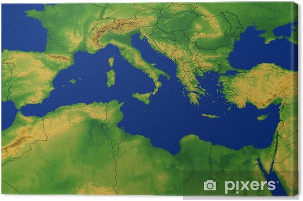Mittelmeer Karte.Leinwandbild Mittelmeer Region Karte Mit Terrain