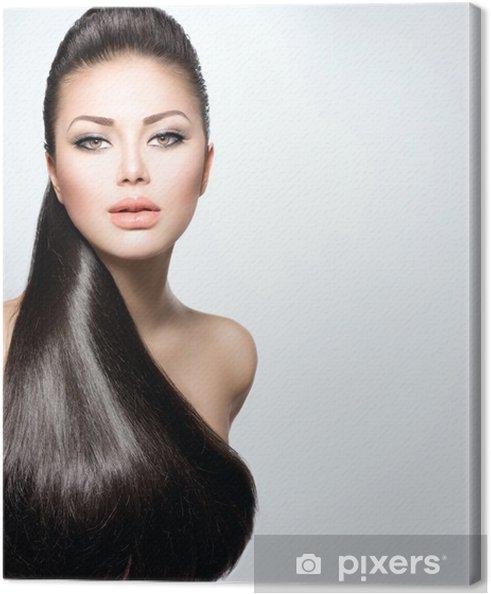 Leinwandbild Model Mädchen Mit Langen Gesundes Glattes Haar Pixers