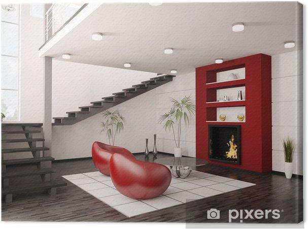 Leinwandbild Modernes Interieur Wohnzimmer mit Kamin und Treppe 3d render