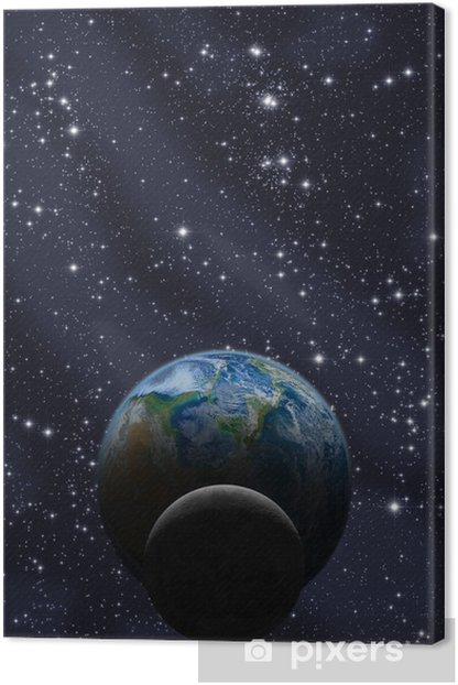 Leinwandbild Mond und Erde mit Milchstraße - Weltall