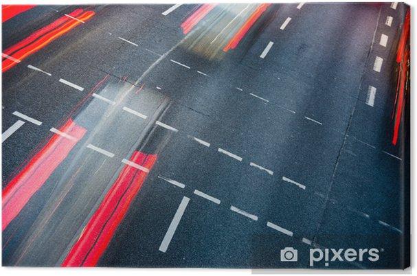 Leinwandbild Motion verwischt Stadt Straßenverkehr (Farbe getönt Bild) - Themen