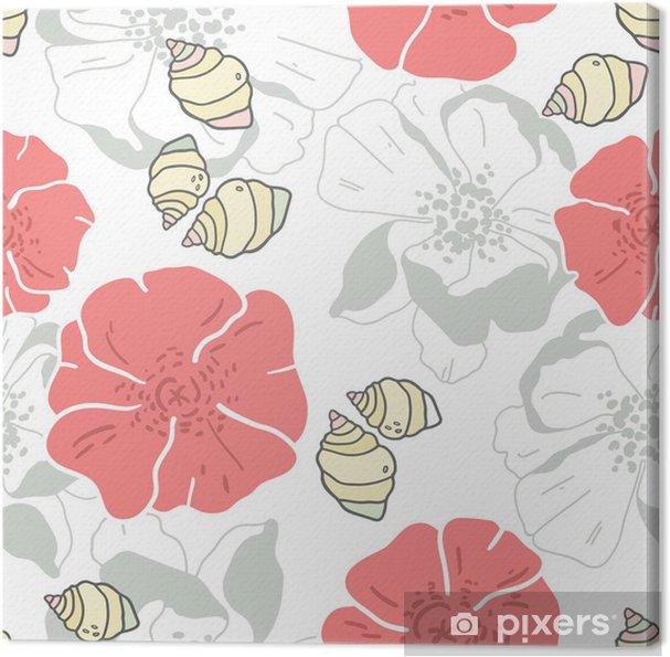 Leinwandbild Muscheln und Blumen nahtlose Patern Hintergrund - Hintergründe