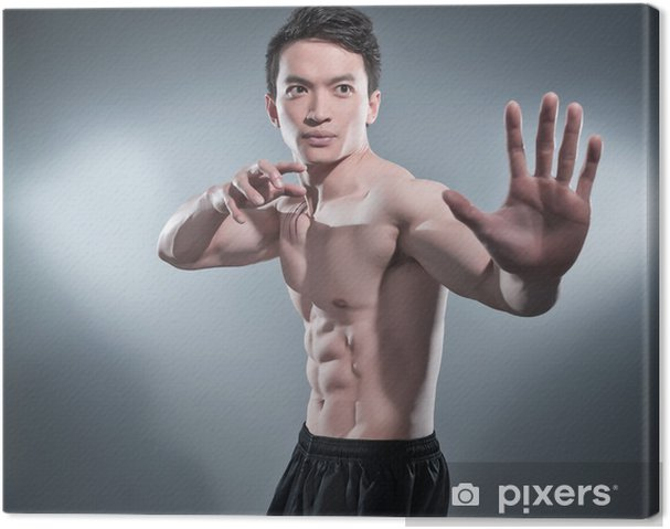Leinwandbild Muskulös asian kung fu Mann in Aktion posieren. Blutstreifen an seinem c - Kampfsport