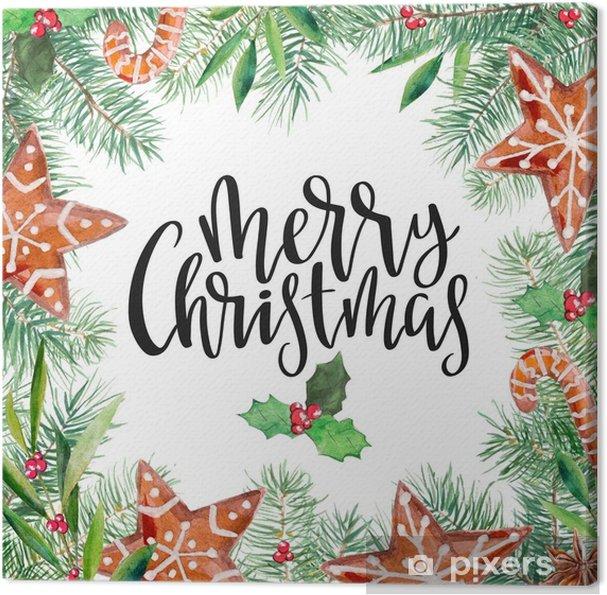 Tannenbaum Muster.Leinwandbild Muster Der Frohen Weihnachten Lebkuchen Tannenbaum Olive Stechpalme Und Beschriftung Handdrawn Illustration Des Aquarells