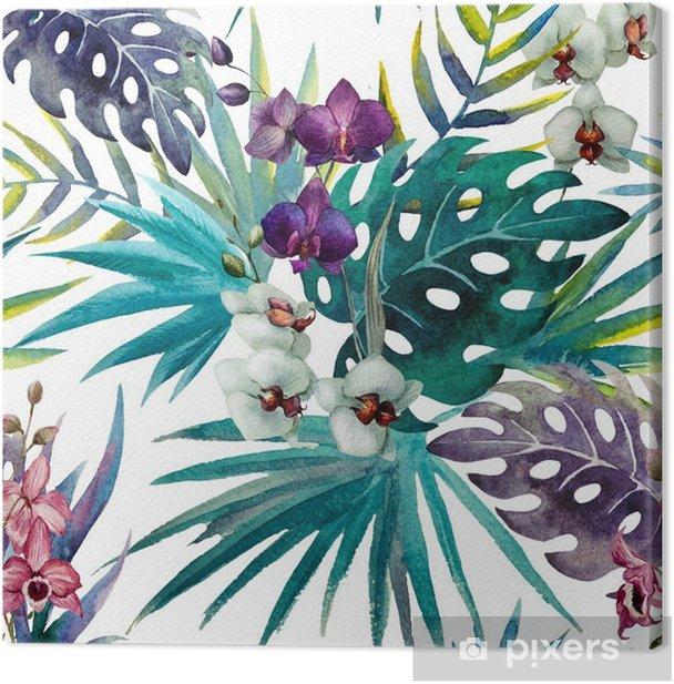 Leinwandbild Muster mit Hibiskus- und Orchideenblättern, Aquarell - iStaging