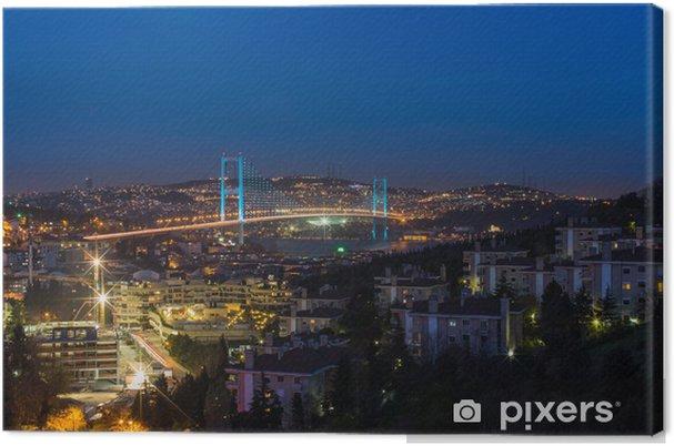 Leinwandbild Nacht am Bosporus-Brücke Istanbul Türkei - Urlaub