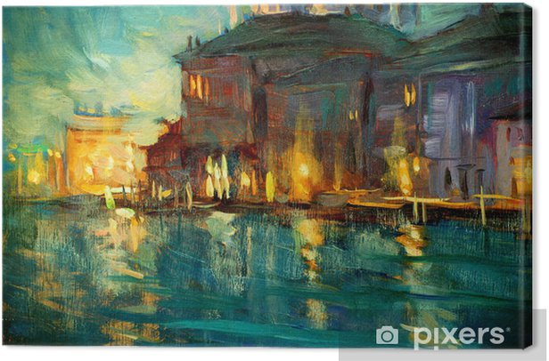 Leinwandbild Nacht-Landschaft nach Venedig, Gemälde von Öl auf Sperrholz, illustrat - Natur